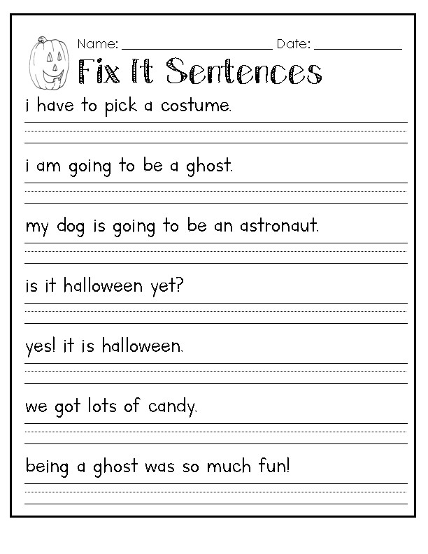 halloween capitalization fix it sentences worksheet by raeann canterbury. Black Bedroom Furniture Sets. Home Design Ideas