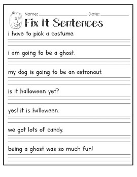 halloween capitalization fix it sentences worksheet by raeann canterbury. Black Bedroom Furniture Sets. Home Design Ideas