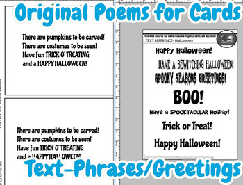 Halloween Card-Making Kit! Poems, Pictures, Text, & Instant  Cat Character!