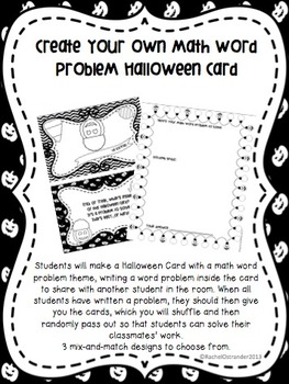 Create Your Own Math Word Problem Halloween Card