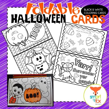 Halloween Cards Foldable Craft and Coloring Printable by ...