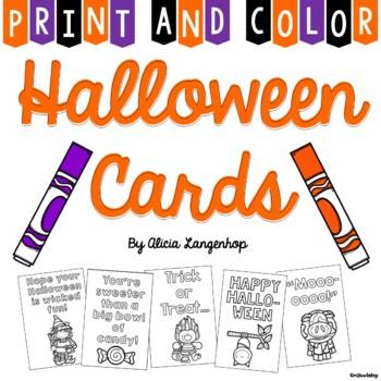 Halloween Cards Print Color By Mskinderhop Tpt