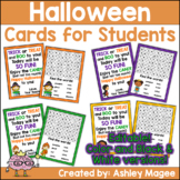 Halloween Cards for Students - Editable in color & black a