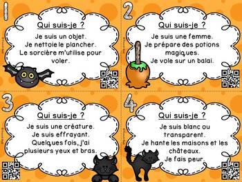 Halloween - Cartes à tâches - Qui suis-je? - Codes QR - French Task Cards