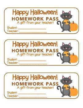 """""""Halloween"""" Cat Holding Pumpkin - Homework Pass –FUN! (color & black line)"""