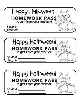 """""""Halloween"""" Cat Holding Pumpkin - Homework Pass –Holiday FUN! (black line)"""