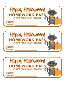 """Halloween"" Cat Holding Pumpkin - Homework Pass – Holiday FUN! (full color)"