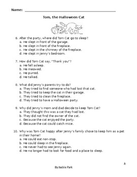 Halloween Cat Story with 10 Multiple Choice Reading Comprehension Questions