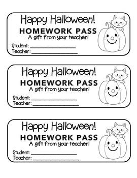 """Halloween"" Cat and Pumpkin - Homework Pass – FUN! (color & black line)"