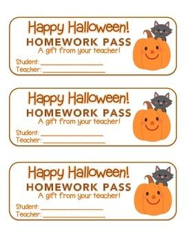 """Halloween"" Cat and Pumpkin - Homework Pass – Holiday FUN! (full color)"