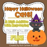 Halloween Cats!  2 Digit Addition Regrouping! Halloween FUN! (Black Line)