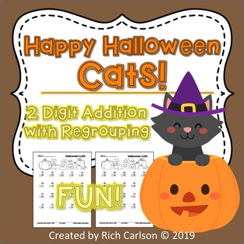 Halloween Cats!  2 Digit Addition Regrouping! Halloween FUN! (Black Line)