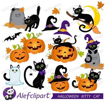 Halloween Cats - Cute Digital Clipart