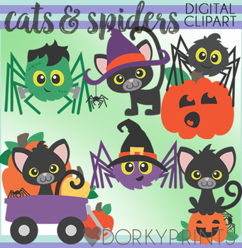 Halloween Cats and Spiders Clip Art