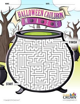 Halloween Maze - Cauldron Maze - Halloween Puzzles - B&W Print Ready