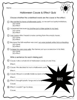 Halloween Cause and Effect Bingo