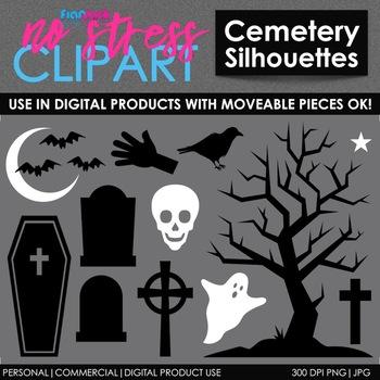 Halloween Cemetery Clip Art (Digital Use Ok!)