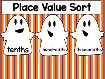 Halloween Center: Decimal Place Value Spooky Sort {Freebie}