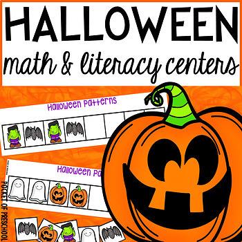 Halloween Math and Literacy Centers for Preschool, Pre-K, and Kindergarten