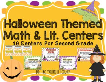 Halloween Centers for Second Grade (Math & Literacy Bundle)