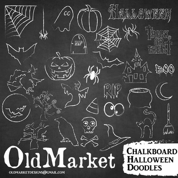 Halloween Chalkboard Clip Art and Backgrounds/Chalk Designs/31 PNG and Vector
