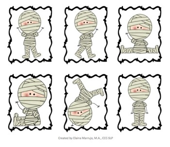 Halloween Character Articulation and Verb Cards: Speech Therapy