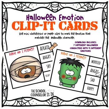 Halloween Character Clip-It Cards