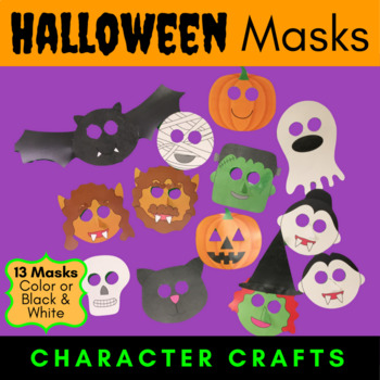 halloween masks character craft projects color or black and white