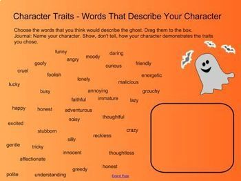 Halloween Character Traits - No Prep SmartBoard Vocabulary Activity
