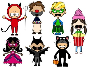 Halloween Characters and Trick-Or-Treaters Clipart Collection