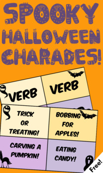 Halloween Charades + Parts of Speech Practice! (Freebie)