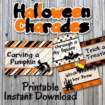halloween charades printable pdf party game printable