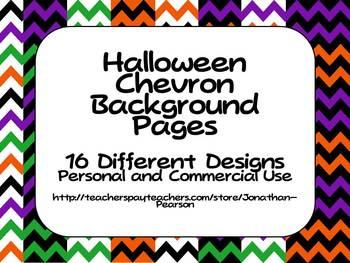 Halloween Chevron Backgrounds - 16 Styles in 300 DPI