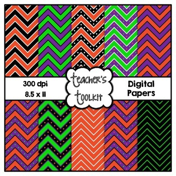 Halloween Chevron Digital Background Papers {8.5 x 11} Cli