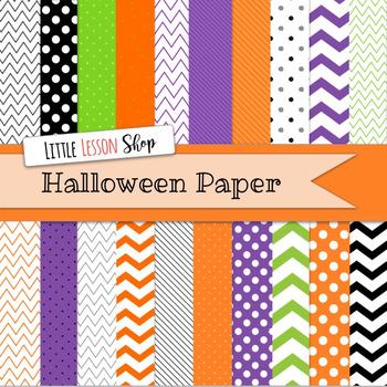Halloween Chevron Digital Paper Background Set Assorted Patterns Volume 1