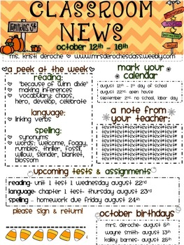 Halloween Chevron Newsletter- Editable!
