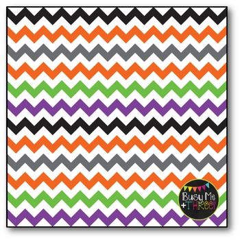 Halloween Chevron on White Digital Papers {Commercial Use Digital Graphics}