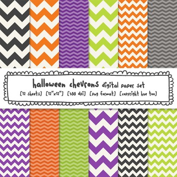 Halloween Chevrons Digital Paper, Orange, Lime Green, Purp
