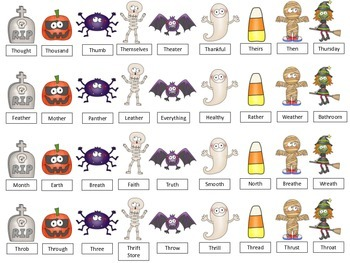 Halloween Roll and Cover- Articulation for R, S/Z, TH, L, SH/CH