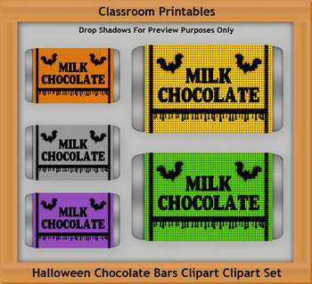 Halloween Chocolate Bars Clipart Set