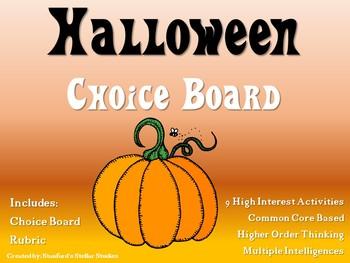 Halloween Choice Board Holiday Activities Menu Project Rubric Tic Tac Toe