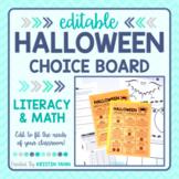 Halloween Choice Board - Reading, Writing, and Math! ( + Digital Option)