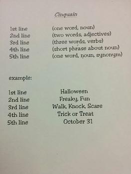 Halloween Cinquain Poetry