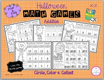 Halloween Circle, Color & Collect Math Games (addition)