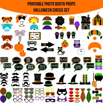 Halloween Circus Printable Photo Booth Prop Set