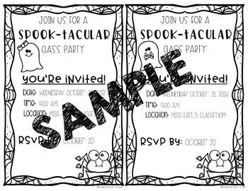 Halloween Class Party Invitations *Editable
