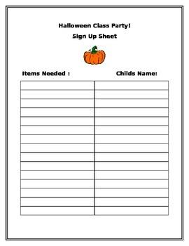 Halloween Class Party Sign Up Sheet!
