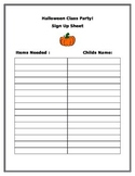 Halloween Class Party Sign Up Sheet!