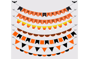 Halloween Classic Bunting Banners Cliparts Pack, Halloween Party Vectors