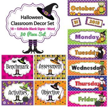 Editable October Signs Decor Great for Halloween Centers Activities Calendar